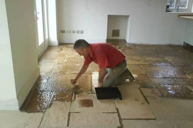Flagstone flooring installation