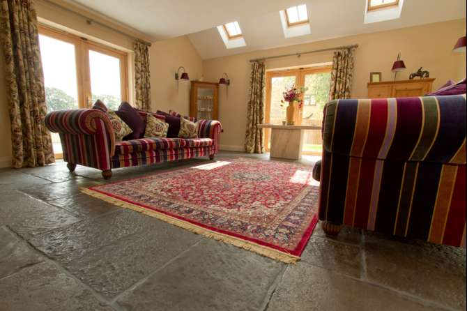 Living room flagstone flooring