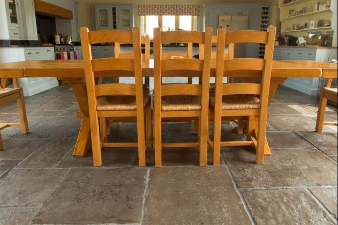 Dining room flagstone floor