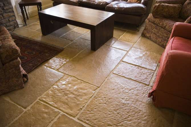 Lounge flagstone floor