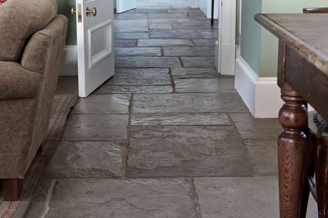 Indoor flagstone flooring